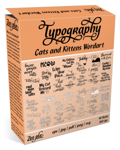 Zen PLR Typography Cats and Kittens Wordart Product Cover