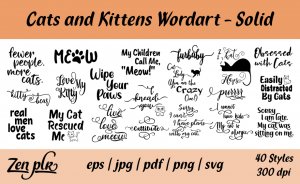 Zen PLR Typography Cats and Kittens Wordart Solid
