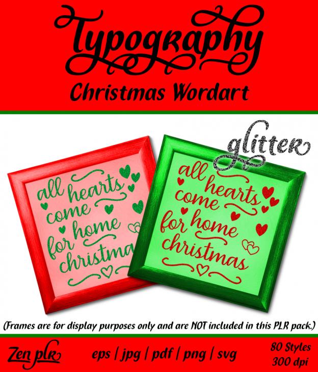 Zen PLR Typography Christmas Wordart Glitter Front Cover