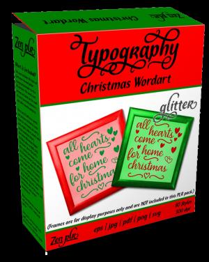 Zen PLR Typography Christmas Wordart Glitter Product Cover