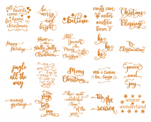 Zen PLR Typography Christmas Wordart Gold Glitter