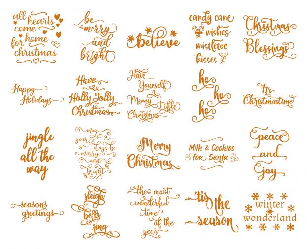 Zen PLR Typography Christmas Wordart Gold Glitter