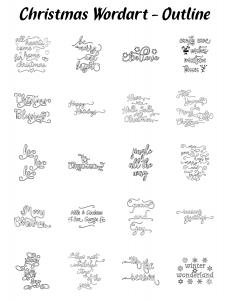 Zen PLR Typography Christmas Wordart Outline