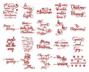 Zen PLR Typography Christmas Wordart Red Glitter