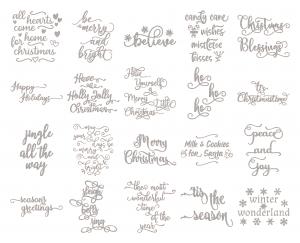 Zen PLR Typography Christmas Wordart Silver Glitter