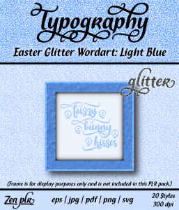 Zen PLR Typography Easter Glitter Wordart Light Blue Front Cover