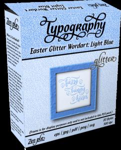 Zen PLR Typography Easter Glitter Wordart Light Blue Product Cover