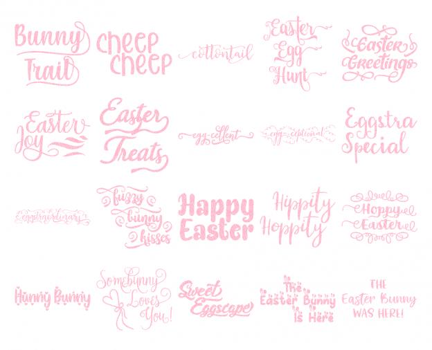 Zen PLR Typography Easter Glitter Wordart Light Pink