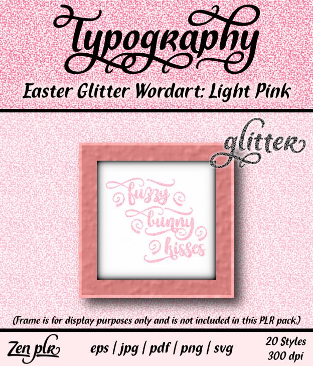 Zen PLR Typography Easter Glitter Wordart Light Pink Front Cover