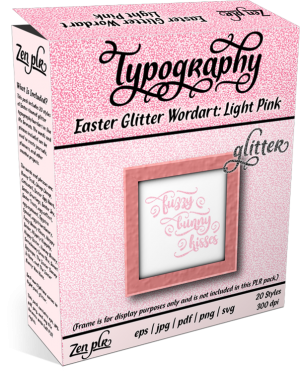Zen PLR Typography Easter Glitter Wordart Light Pink Product Cover