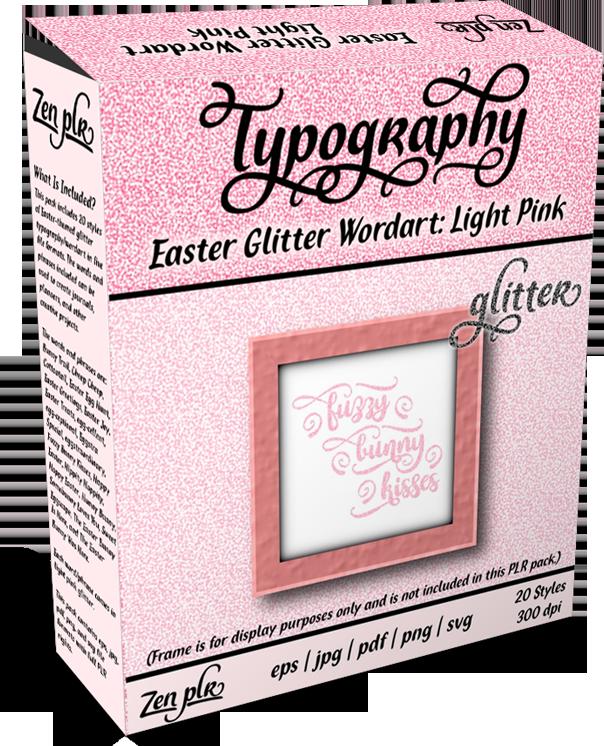 Zen PLR Typography Easter Glitter Wordart Light Pink Product Cover