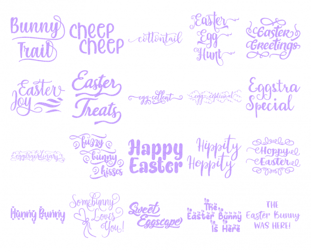 Zen PLR Typography Easter Glitter Wordart Light Purple