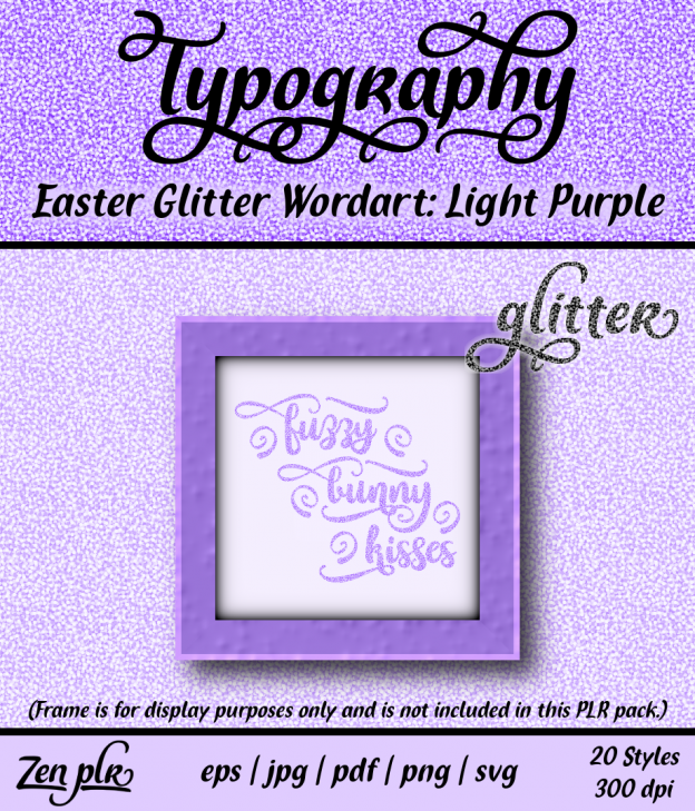 Zen PLR Typography Easter Glitter Wordart Light Purple Front Cover