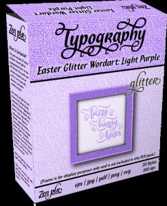 Zen PLR Typography Easter Glitter Wordart Light Purple Product Cover