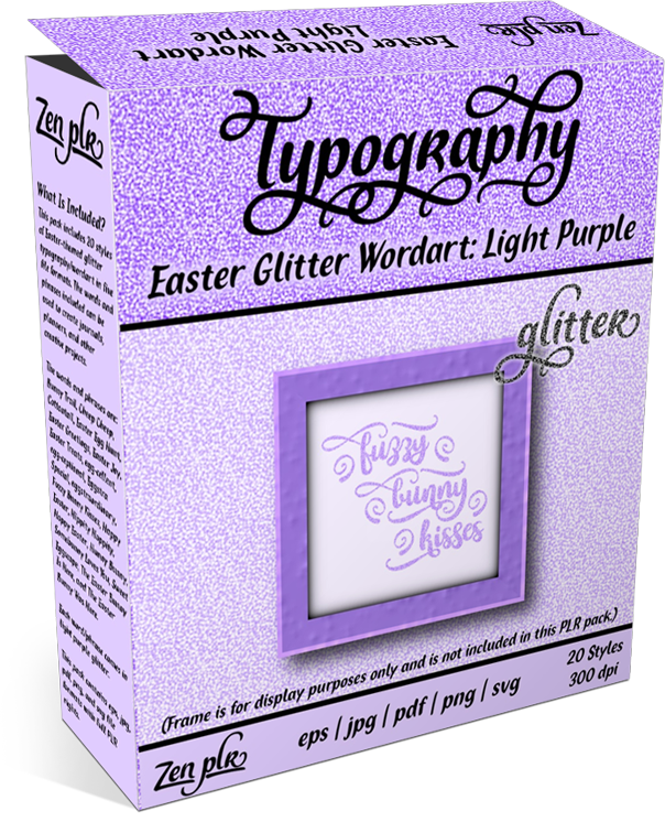 Zen PLR Typography Easter Glitter Wordart Light Purple Product Cover