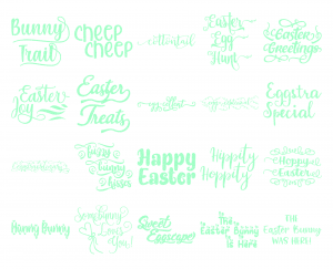 Zen PLR Typography Easter Glitter Wordart Mint Green