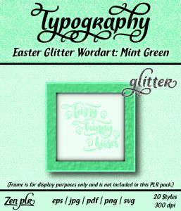 Zen PLR Typography Easter Glitter Wordart Mint Green Front Cover