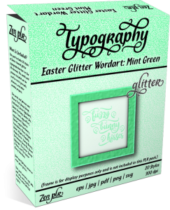 Zen PLR Typography Easter Glitter Wordart Mint Green Product Cover