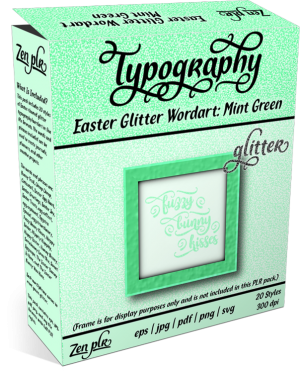 Zen PLR Typography Easter Glitter Wordart Mint Green Product Cover