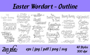 Zen PLR Typography Easter Wordart Outline