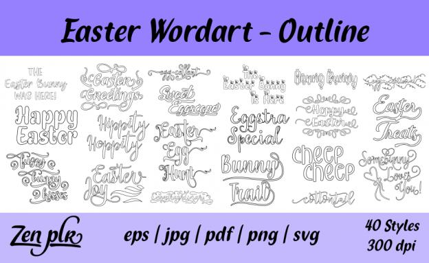 Zen PLR Typography Easter Wordart Outline