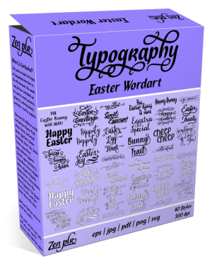 Zen PLR Typography Easter Wordart Product Cover