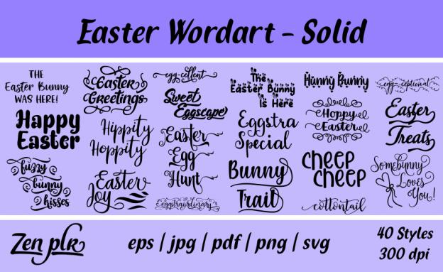 Zen PLR Typography Easter Wordart Solid