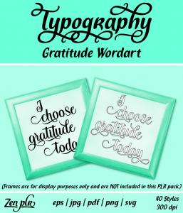 Zen PLR Typography Gratitude Wordart Front Cover