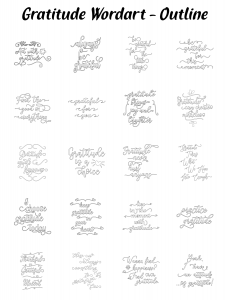 Zen PLR Typography Gratitude Wordart Outline