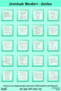 Zen PLR Typography Gratitude Wordart Outline Framed
