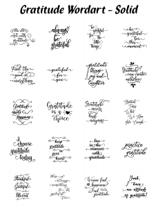 Zen PLR Typography Gratitude Wordart Solid