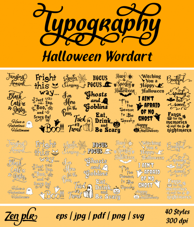 Zen PLR Typography Halloween Wordart Front Cover