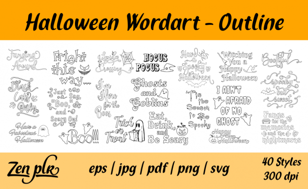 Zen PLR Typography Halloween Wordart Outline