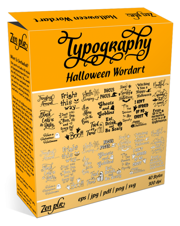 Zen PLR Typography Halloween Wordart Product Cover