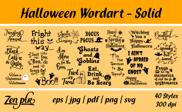 Zen PLR Typography Halloween Wordart Solid