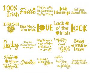 Zen PLR Typography Irish Glitter Wordart Gold