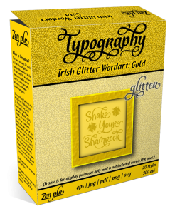 Zen PLR Typography Irish Glitter Wordart Gold Product Cover