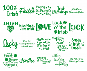 Zen PLR Typography Irish Glitter Wordart Green