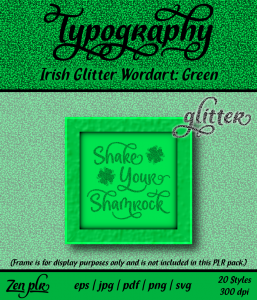 Zen PLR Typography Irish Glitter Wordart Green Front Cover