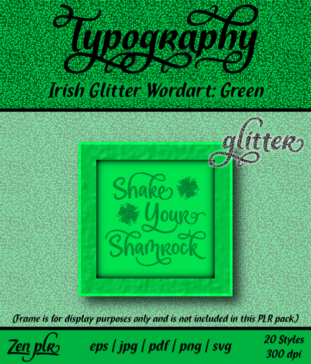 Zen PLR Typography Irish Glitter Wordart Green Front Cover