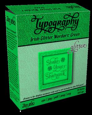 Zen PLR Typography Irish Glitter Wordart Green Product Cover