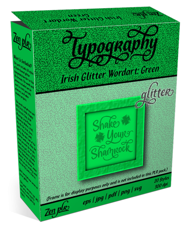 Zen PLR Typography Irish Glitter Wordart Green Product Cover