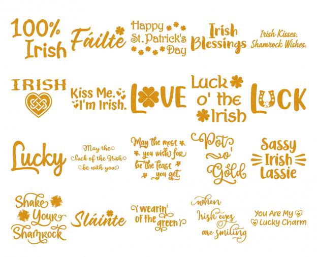 Zen PLR Typography Irish Glitter Wordart Orange