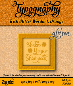 Zen PLR Typography Irish Glitter Wordart Orange Front Cover