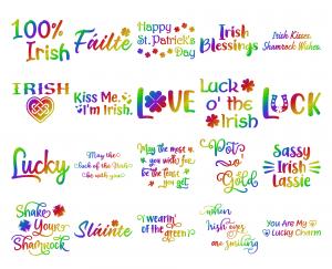 Zen PLR Typography Irish Glitter Wordart Rainbow