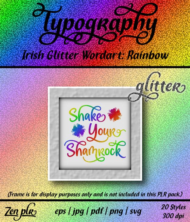 Zen PLR Typography Irish Glitter Wordart Rainbow Front Cover
