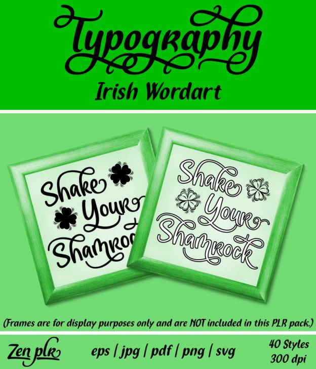 Zen PLR Typography Irish Wordart Front Cover