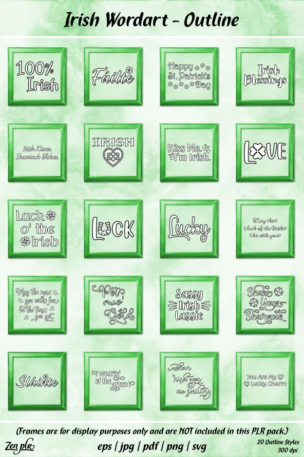 Zen PLR Typography Irish Wordart Outline Framed
