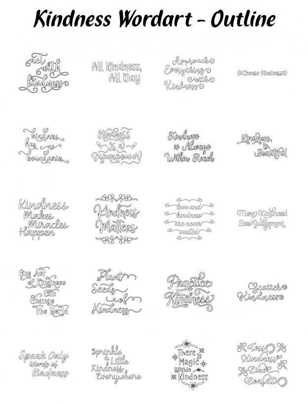 Zen PLR Typography Kindness Wordart Outline