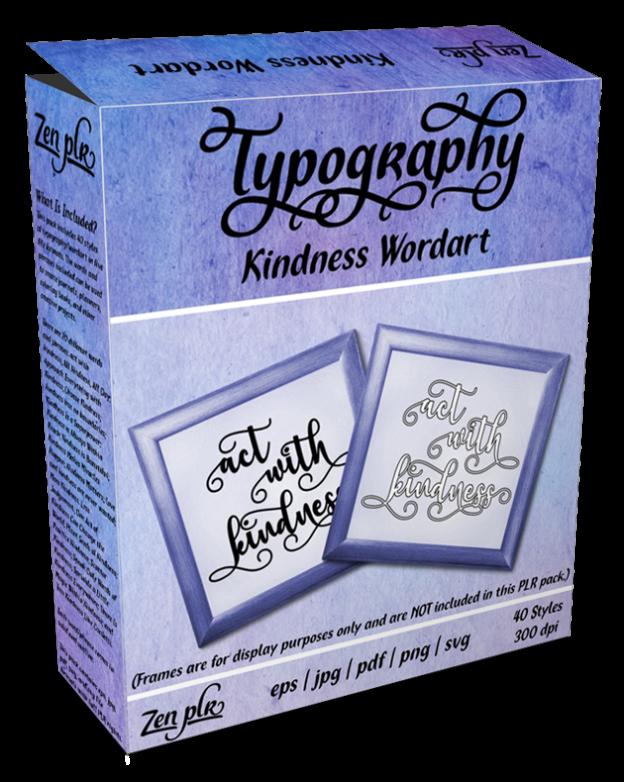 Zen PLR Typography Kindness Wordart Product Cover